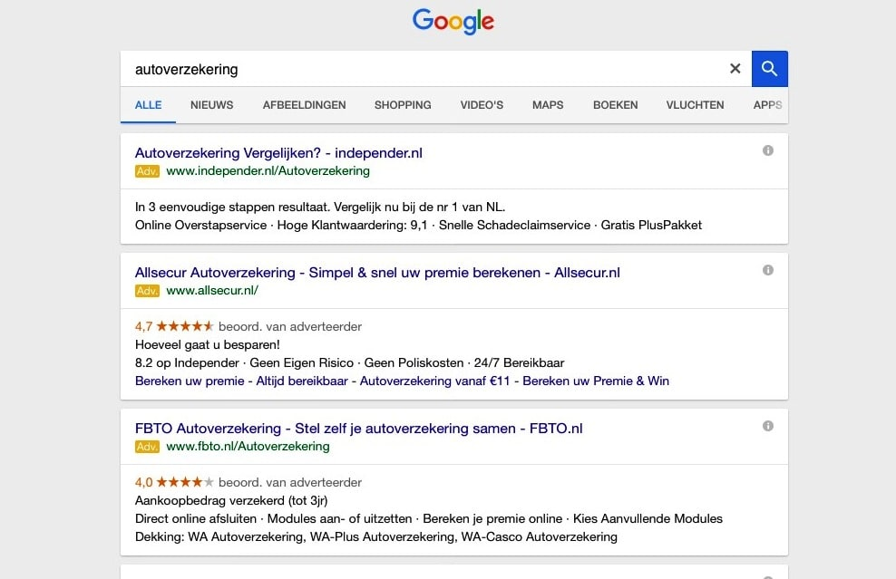 Alleen advertenties bovenin bij Google